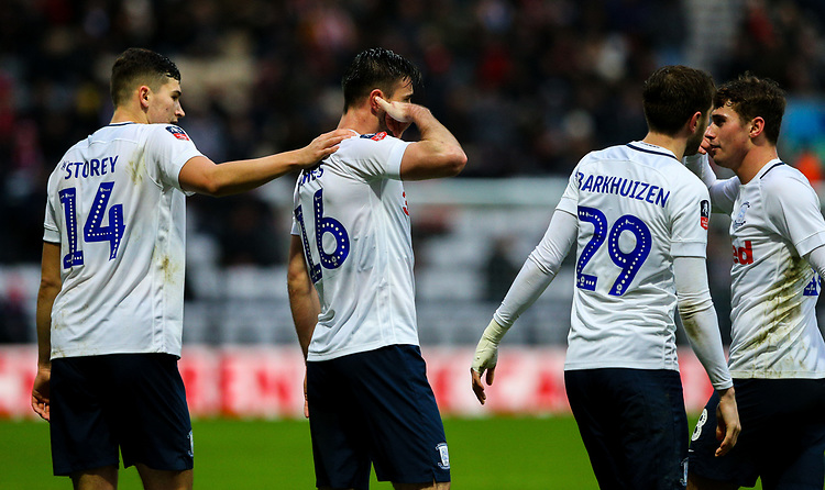Preston North End's Andrew Hughes celebrates scoring his side's first goal with Jordan Storey, Tom Barkhuizen and Ryan Ledson<br /> <br /> Photographer Alex Dodd/CameraSport<br /> <br /> The Emirates FA Cup Third Round - Preston North End v Doncaster Rovers - Sunday 6th January 2019 - Deepdale Stadium - Preston<br />  <br /> World Copyright © 2019 CameraSport. All rights reserved. 43 Linden Ave. Countesthorpe. Leicester. England. LE8 5PG - Tel: +44 (0) 116 277 4147 - admin@camerasport.com - www.camerasport.com