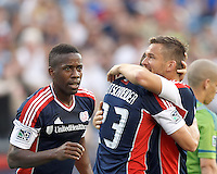 New England Revolution forward Blake Brettschneider (23) celebrates his goal with teammates. In a Major League Soccer (MLS) match, the New England Revolution tied the Seattle Sounders FC, 2-2, at Gillette Stadium on June 30, 2012.