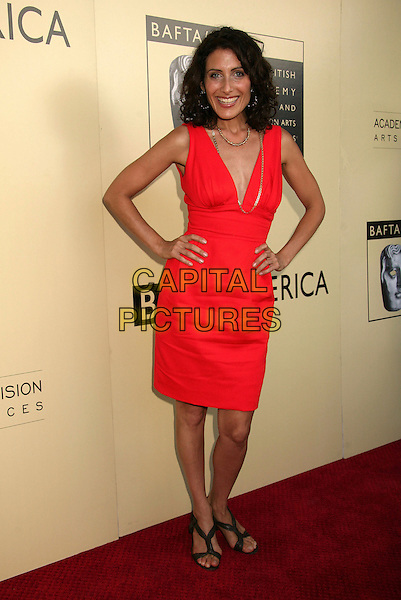 LISA EDELSTEIN.BAFTA LA and the Academy of Television Arts And Sciences Host Primetime Emmy Awards Tea Party held at the Park Hyatt Hotel, Century City, California, USA, .26 August 2006..full length red dress hands on hips.Ref: ADM/BP.www.capitalpictures.com.sales@capitalpictures.com.©Byron Purvis/AdMedia/Capital Pictures.