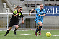 20190427 - Waregem , BELGIUM :  Celine Vanheste (L) and Brookelynn Cooreman (R) pictured during the final of the Beker van West-Vlaanderen 2019 , a soccer women game between SV Bredene and Famkes Westhoek Diksmuide Merkem B  , in the  Mirakelstadion in Waregem , Satuday 27 th April 2019 . PHOTO SPORTPIX.BE | DIRK VUYLSTEKE