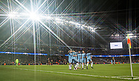 Kelechi Iheanacho of Manchester City celebrates his goal with teammates during the UEFA Champions League GROUP match between Manchester City and Celtic at the Etihad Stadium, Manchester, England on 6 December 2016. Photo by Andy Rowland.