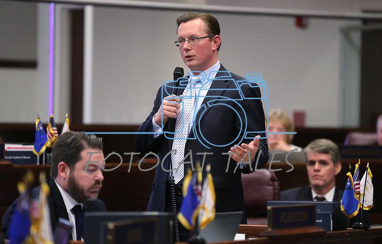 Nevada Sen. Ben Kieckhefer, R-Reno, works on the Senate floor at the Legislative Building in Carson City, Nev., on Tuesday, May 21, 2013. .Photo by Cathleen Allison