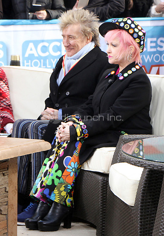 NEW YORK, NY - JANUARY 25: Kit Hoover,  Rod Stewart, Cyndi Lauper pictured on the set of Access Hollywood in New York City on January 25, 2017. Credit: RW/MediaPunch
