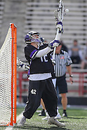 College Park, MD - February 18, 2017: High Point Panthers Tim Troutner Jr. (42) makes a save during game between High Point and Maryland at  Capital One Field at Maryland Stadium in College Park, MD.  (Photo by Elliott Brown/Media Images International)