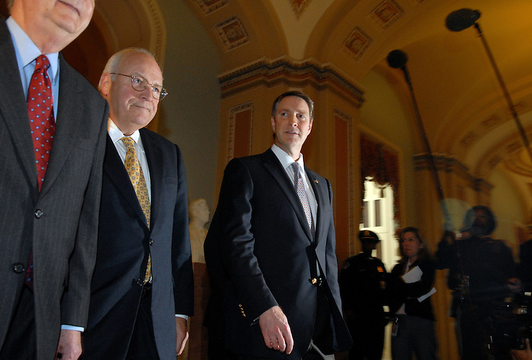 From Left, Sen. Mitch McConnell, R-Ky., Vice President Dick Cheney, and outgoing Senate Majority Leader Bill Frist, R-Tenn., make their way to the Senate Chamber for Frist's farewell address.