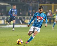 Lorenzo Insigne of Napoli  during the  italian serie a soccer match,Atalanta - SSC Napoli at  the Atleti azure d'italia   stadium in Bergamo Italy , December 03, 2018