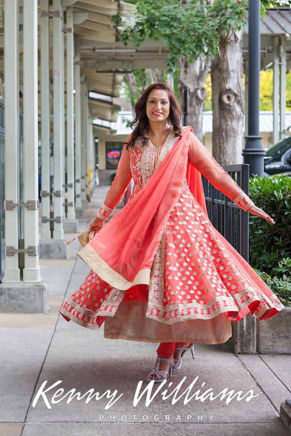 Vasudha Sharma in Peach Color Traditional Clothing, Renton Multicultural Festival, Washington, USA.