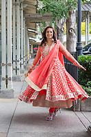 Vasudha Sharma in Peach Color Traditional Clothing, Renton Multicultural Festival, Washington, USA.