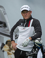 14.10.2014. The London Golf Club, Ash, England. The Volvo World Match Play Golf Championship.  Jamie Donaldson (WAL) on the par three eighth hole during the Pro-Am event.