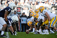 STATE COLLEGE, PA - SEPTEMBER 09:  The Pitt offensive line gets set in their stances wearing throwback uniforms and throwback script Pitt helmets: C (67) Jimmy Morrissey, G Alex Officer (63), and T Brian O'Neill (70). The Penn State Nittany Lions defeated the Pittsburgh Panthers 33-14 in the Keystone Classic September 9, 2017 at Beaver Stadium in State College, PA. (Photo by Randy Litzinger/Icon Sportswire)