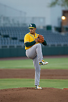 AZL Athletics relief pitcher Jesus Luzardo (49) delivers a pitch to the plate against the AZL Giants on August 5, 2017 at Scottsdale Stadium in Scottsdale, Arizona. AZL Athletics defeated the AZL Giants 2-1. (Zachary Lucy/Four Seam Images)