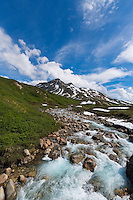 Snow and ice melt from the mountain in the background fuel a large portion of this gorgeous mountain stream.  Tordrillo Mountains, Matanuska Susitna, Alaska.