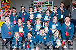 Pupils from Loughfouder NS with their book A Civil War Knocknagoshel and Ballyseedy they made for their Junior Entrepreneur project finals at the Malton Hotel on Wednesday front row Naeve Tugwell, Eimile Cotter, Sean Keane, Shauna Curtin. Middle row: Daniel Aherne, Cathal McElligott, Kellyanne Nix, Anna McSweeney, Matilda Cotter, Katelyn Curtin, Darragh culhane. Back row: Shane Browne, Bronagh Browne, Jack McElligott, Evan collins, Emma Keane, Erina cotter, Eoin McSweeney, Niamh Brosnan