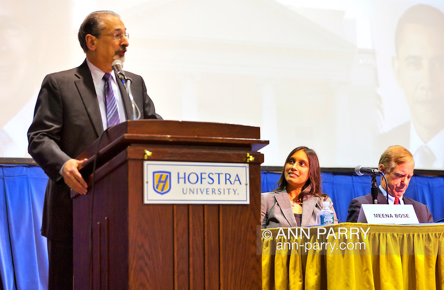 """Introduction of Panelists, including Meena Bose (center)  and Governor Howard B. Dean III (right) at """"Change in the White House?"""" on Thursday, April 19, 2012, at Hofstra University, Hempstead, New York, USA. Hofstra's event was part of """"Debate 2012"""" which leads up to the Presidential Debate Hofstra is hosting on October 15, 2012."""