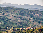Monsummano Terme and Tuscany farms and villages from the hill above by the church of St. Nicolas, Tuscano, Italy