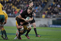 All Blacks' Sam Cane in action during the All Blacks v Wallabies. The Rugby Championship &amp; Bledisloe Cup at Westpac Stadium, Wellington, New Zealand on Saturday 27 August 2016.<br /> Photo by Masanori Udagawa. <br /> www.photowellington.photoshelter.com.