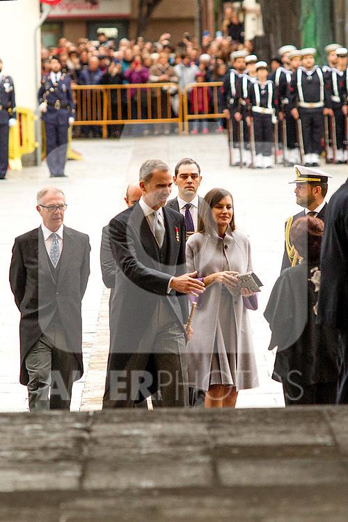 King Felipe VI of Spain and Queen Letizia during the Cervantes Literature Prize ceremony at the University of Alcala in Madrid on April 23, 2019. (ALTERPHOTOS/Alconada).