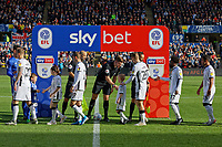 Swansea players greet match officials prior to the Sky Bet Championship match between Swansea City and Cardiff City at the Liberty Stadium, Swansea, Wales, UK. Sunday 27 October 2019