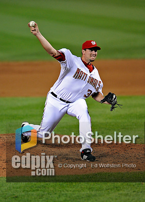 12 July 2008: Washington Nationals' pitcher Joel Hanrahan on the mound against the Houston Astros at Nationals Park in Washington, DC. The Astros defeated the Nationals 6-4 in the second game of their 3-game series...Mandatory Photo Credit: Ed Wolfstein Photo