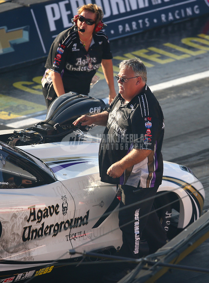 Sep 2, 2016; Clermont, IN, USA; Jimmy Rector , crew chief for NHRA pro mod driver Danny Rowe during qualifying for the US Nationals at Lucas Oil Raceway. Mandatory Credit: Mark J. Rebilas-USA TODAY Sports