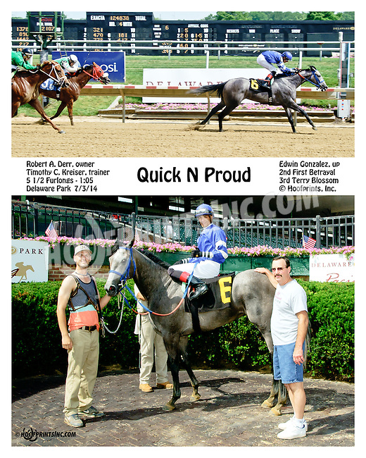 Quick N Proud winning at Delaware Park on 7/3/14