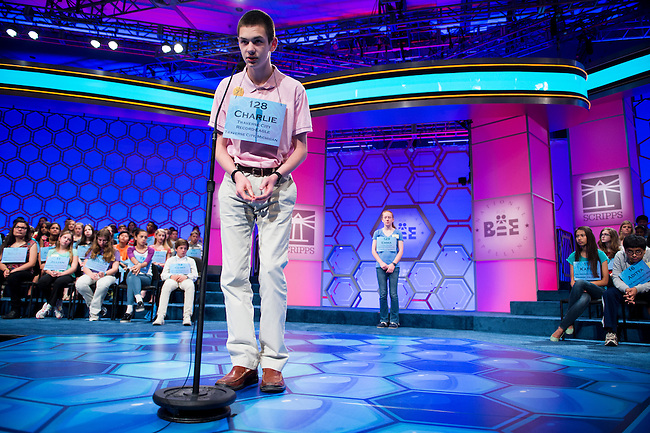 Speller No. 128, Charlie Francis Donahue, 14, eighth grader at St. Elizabeth Ann Seton Middle School, Traverse City, Michigan, competes in the preliminary rounds of the Scripps National Spelling Bee at the Gaylord National Resort and Convention Center in National Habor, Md., on Wednesday, May 29, 2013. Photo by Bill Clark