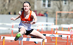 WATERTOWN CT. 16 April 2019-041619SV17-Morgan Dodge of Watertown competes in the 100-meter hurdles during a track meet at Watertown High in Watertown Tuesday. Watertown hosted Woodland and Torrington in NVL boys and girls track.<br /> Steven Valenti Republican-American