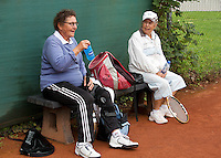 Netherlands, Amstelveen, August 18, 2015, Tennis,  National Veteran Championships, NVK, TV de Kegel,  Lady's doubles 80+ years,  Anneke Balics (L) and Wies Schuitemaker<br /> Photo: Tennisimages/Henk Koster
