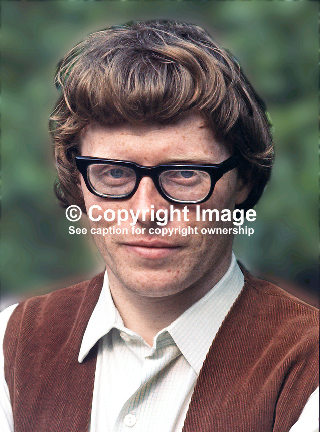 Frank Ormsby, poet, Belfast, N Ireland, UK, 197306000452b.<br /> <br /> Copyright Image from Victor Patterson, 54 Dorchester Park, Belfast, UK, BT9 6RJ<br /> <br /> t1: +44 28 9066 1296 (from Rep of Ireland 048 9066 1296)<br /> t2: +44 28 9002 2446 (from Rep of Ireland 048 9002 2446)<br /> m: +44 7802 353836<br /> <br /> e1: victorpatterson@me.com<br /> e2: victorpatterson@gmail.com<br /> <br /> The use of my copyright images is subject to my Terms &amp; Conditions.<br /> <br /> It is IMPORTANT that you familiarise yourself with them. They are available on my website at www.victorpatterson.com.<br /> <br /> None of my copyright images may be used on a website unless they are visibly watermarked, i.e. &copy; Victor Patterson within the body of the visible image. Metadata denoting my copyright must NOT be deleted. <br /> <br /> Web use (maximum size - 400 kb) is extra at currently recommended NUJ rates.