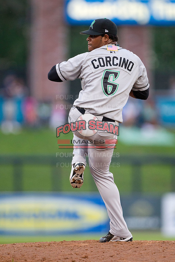 Daniel Corcino (6) of the Dayton Dragons delivers a pitch during the Midwest League All-Star Game at Modern Woodmen Park on June 21, 2011 in Davenport, Iowa. (David Welker / Four Seam Images).