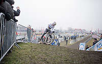 Cx World Champion Wout Van Aert (BEL/Crelan-Willems) unclipping up a (very) steep &amp; muddy hill during the Elite Men's course recon<br /> <br /> CX Superprestige Noordzeecross <br /> Middelkerke / Belgium 2017