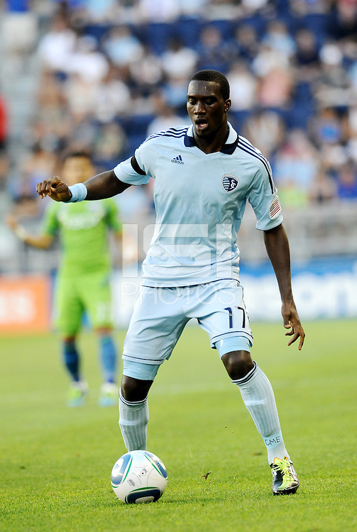 C.J Sapong (17) forward Sporting KC in action..... Sporting Kansas City were defeated 1-2 by Seattle Sounders at LIVESTRONG Sporting Park, Kansas City, Kansas.