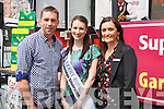 Kerry footballer Marc Ó Sé, Kerry Rose Gemma Kavanagh and Garvey's SuperValu manager Sandra Lynch at the Garvey's SuperValu, Tralee barbecue fundraiser for the Stack's Strictly Come Dancing event, in Tralee on Friday.