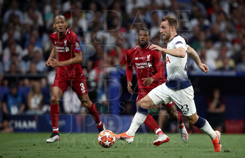 Tottenham Hotspur's Christian Eriksen in action during the UEFA Champions League final football match between Tottenham Hotspur and Liverpool at Madrid's Wanda Metropolitano Stadium, Spain, June 1, 2019.<br /> UPDATE IMAGES PRESS/Isabella Bonotto