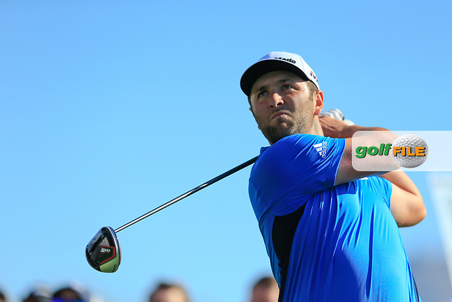 Jon Rahm (ESP) on the 3rd tee during the 2nd round of the Waste Management Phoenix Open, TPC Scottsdale, Scottsdale, Arisona, USA. 01/02/2019.<br /> Picture Fran Caffrey / Golffile.ie<br /> <br /> All photo usage must carry mandatory copyright credit (&copy; Golffile | Fran Caffrey)