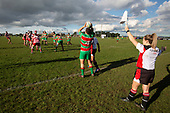 Assistant Referee Lauren Jenner watches as Joseph Gregory prepares to throw to a lineout. Counties Manukau Premier Club Rugby game between Karaka and Waiuku, played at Karaka Sports Park on Saturday June 9th 2018. Karaka won the game 22 - 18 after trailing 5 - 13 at halftime.  Photo by Richard Spranger.