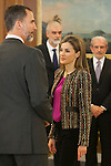 King Felipe VI of Spain and Queen Letizia of Spain during a royal audience at Zarzuela Palace in Madrid, Spain. January 08, 2015. (ALTERPHOTOS/Victor Blanco)