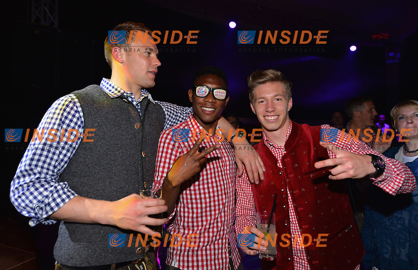 10.05.2014, Postpalast, Muenchen, GER, 1. FBL, FC Bayern Muenchen Meisterfeier, im Bild Manuel Neuer, David Alaba and Mitchell Weiser of FC Bayern Muenchen celebrate Manuel Neuer, David Alaba, Mitchell Weiser, // during official Championsparty of Bayern Munich at the Postpalast in Muenchen, Germany on 2014/05/11. EXPA Pictures &copy; 2014, PhotoCredit: EXPA/ Eibner-Pressefoto/ EIBNER<br /> <br /> *****ATTENTION - OUT of GER***** <br /> Football Calcio 2013/2014<br /> Bundesliga 2013/2014 Bayern Campione Festeggiamenti <br /> Foto Expa / Insidefoto