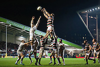 Mike Fitzgerald of Leicester Tigers rises high to win lineout ball. Aviva Premiership match, between Leicester Tigers and Exeter Chiefs on March 3, 2017 at Welford Road in Leicester, England. Photo by: Patrick Khachfe / JMP