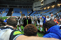 The Bath Rugby team huddle together after the match. European Rugby Champions Cup match, between Wasps and Bath Rugby on December 13, 2015 at the Ricoh Arena in Coventry, England. Photo by: Patrick Khachfe / Onside Images