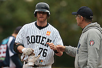 23 October 2010: Aaron Hornostaj of Rouen is seen next to Francois Colombier during Savigny 8-7 win (in 12 innings) over Rouen, during game 3 of the French championship finals, in Rouen, France.
