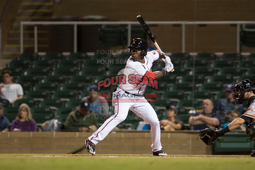 Salt River Rafters center fielder Daniel Johnson (7), of the Washington Nationals organization, at bat in front of catcher Matt Winn (16) during an Arizona Fall League game against the Scottsdale Scorpions at Salt River Fields at Talking Stick on October 11, 2018 in Scottsdale, Arizona. Salt River defeated Scottsdale 7-6. (Zachary Lucy/Four Seam Images)