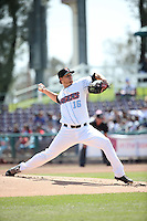 Tyler Carpenter (16) of the Inland Empire 66ers pitches against the Rancho Cucamonga Quakes at San Manuel Stadium on April 27, 2016 in San Bernardino, California. Rancho Cucamonga defeated Inland Empire, 2-1. (Larry Goren/Four Seam Images)
