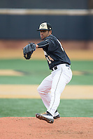Wake Forest Demon Deacons relief pitcher Donnie Sellers (14) in action against the Towson Tigers at Wake Forest Baseball Park on March 1, 2015 in Winston-Salem, North Carolina.  The Demon Deacons defeated the Tigers 15-8.  (Brian Westerholt/Four Seam Images)