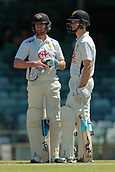 November 5th 2017, WACA Ground, Perth Australia; International cricket tour, Western Australia versus England, day 2; Will Bosisto (L) and Nick Hobson (R) chat during overs on day two of the tour match against England