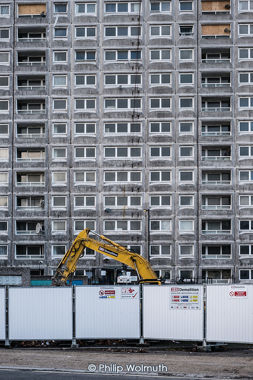 Demolition of Gloucester House in Phase 2b of Brent Council's South Kilburn Estate regeneration scheme.