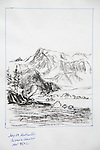 Alaska, Columbia Bay, Heather Island, Mountain 9502, charcoal on paper, Journal Art 2007,