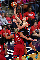 Washington, DC - Sept 17, 2019: Las Vegas Aces forward Dearica Hamby (5) goes up over Washington Mystics forward Elena Delle Donne (11) to score a basket during WNBA Playoff semi final game between Las Vegas Aces and Washington Mystics at the Entertainment & Sports Arena in Washington, DC. The Mystics hold on to beat the Aces 97-95. (Photo by Phil Peters/Media Images International)