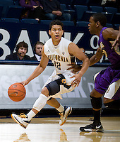 Brandon Smith of California controls the ball during the game against SFSU at Haas Paviliion in Berkeley, California on November 6th, 2012.  California defeated San Francisco State, 89-80.