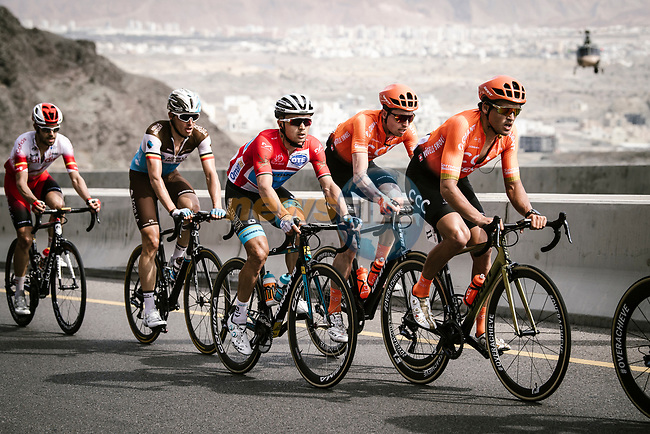Greg Van Avermaet (BEL) CCC Team, race leader Alexey Lutsenko (KAZ) Astana Pro Team and Oliver Naesen (BEL) AG2R La Mondiale climb during Stage 4 of 10th Tour of Oman 2019, running 131km from Yiti (Al Sifah) to Oman Convention and Exhibition Centre, Oman. 19th February 2019.<br /> Picture: ASO/P. Ballet | Cyclefile<br /> All photos usage must carry mandatory copyright credit (© Cyclefile | ASO/P. Ballet)